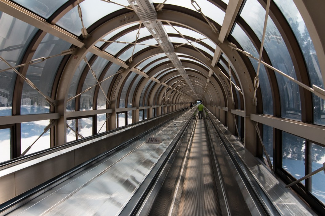 The moving walkway up to the skifield